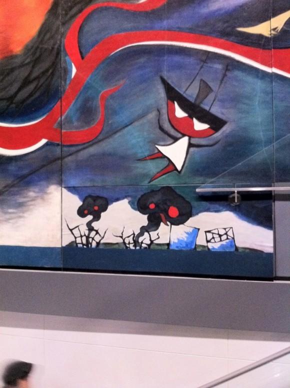 岡本太郎「明日の神話」に原発の風刺画。接近した所
