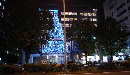 青山エイベックス本社のクリスマスツリーイルミネーション始まる