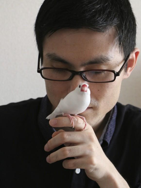 文鳥の香りをかぐ@nambonさん